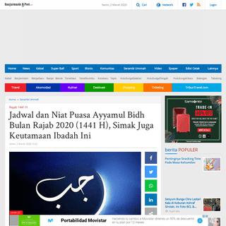 Jadwal dan Niat Puasa Ayyamul Bidh Bulan Rajab 2020 (1441 H), Simak Juga Keutamaan Ibadah Ini - Banjarmasin Post