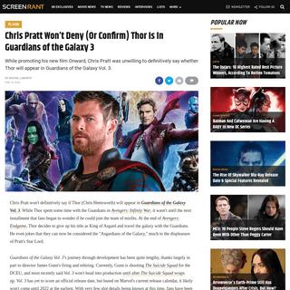Guardians of the Galaxy 3- Chris Pratt Won't Deny Thor Is In MCU Film