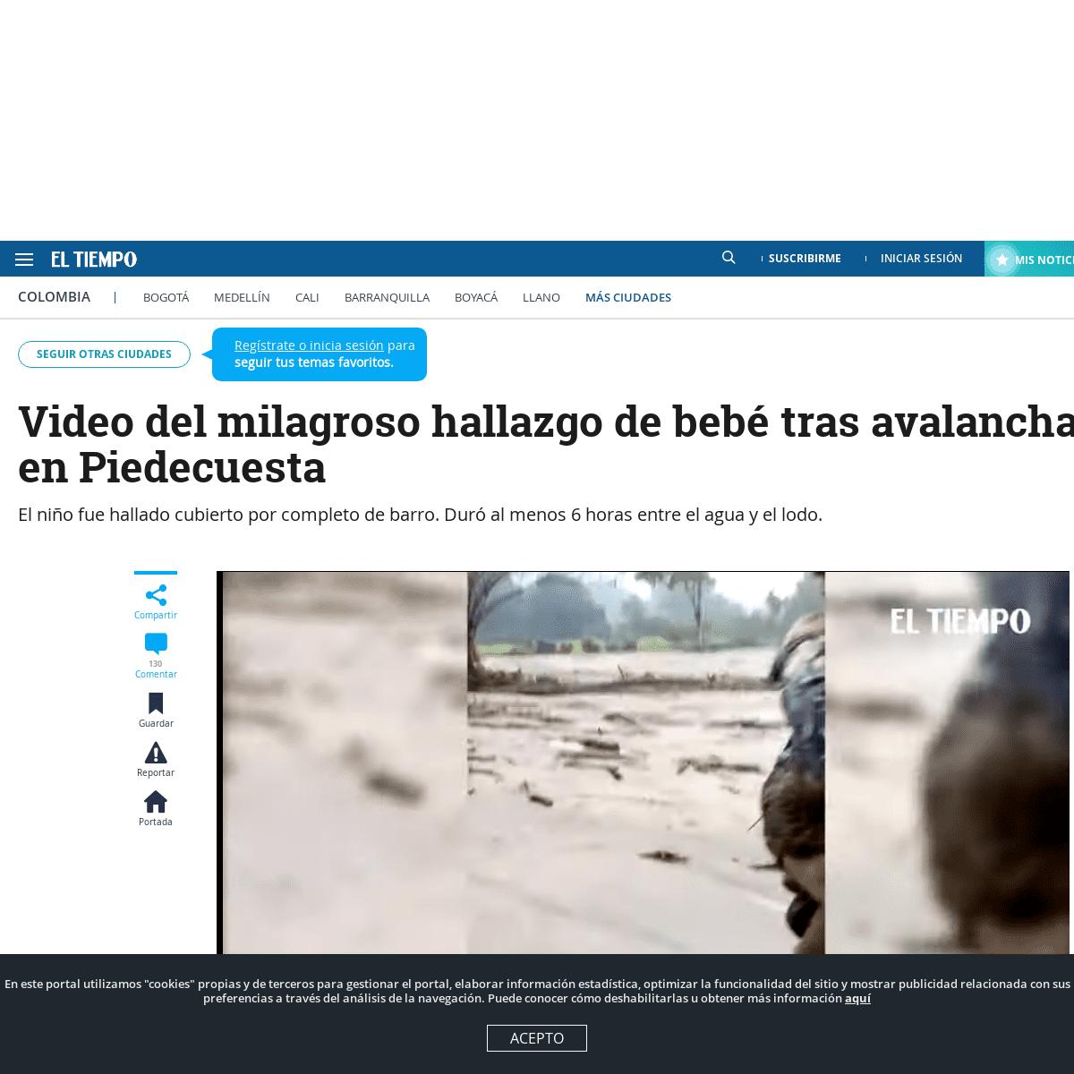 Video de bebé rescatado tras avalancha en Piedecuesta, Santander - Otras Ciudades - Colombia - ELTIEMPO.COM