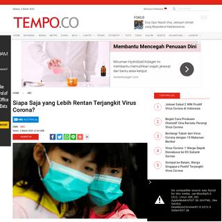 Siapa Saja yang Lebih Rentan Terjangkit Virus Corona- - ABC Tempo.co