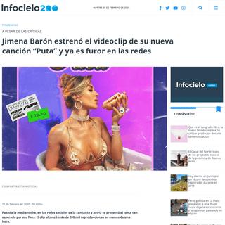 """Jimena Barón estrenó el videoclip de su nueva canción """"Puta"""" y ya es furor en las redes - Infocielo"""