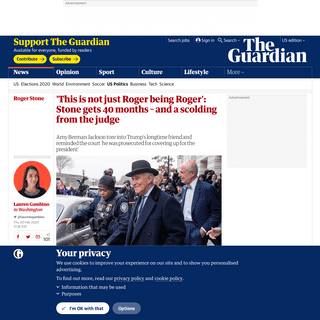 ArchiveBay.com - www.theguardian.com/us-news/2020/feb/20/roger-stone-trial-40-months-sentence - 'This is not just Roger being Roger'- Stone gets 40 months – and a scolding from the judge - US news - The Guardian