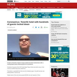 Coronavirus- Tenerife hotel with hundreds of guests locked down - BBC News
