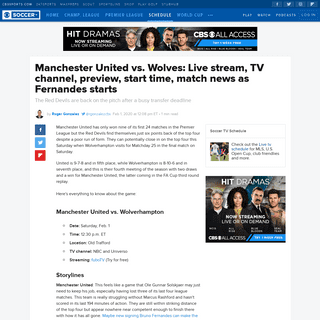 Manchester United vs. Wolves- Live stream, TV channel, preview, start time, match news as Fernandes starts - CBSSports.com