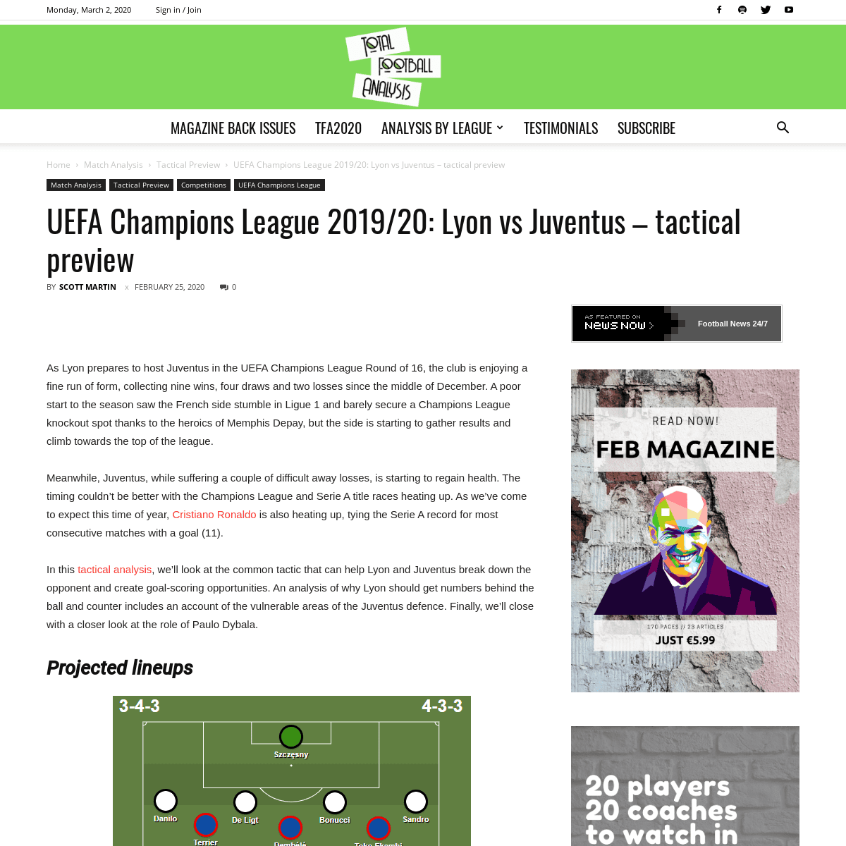 UEFA Champions League 2019-20- Lyon vs Juventus – tactical preview