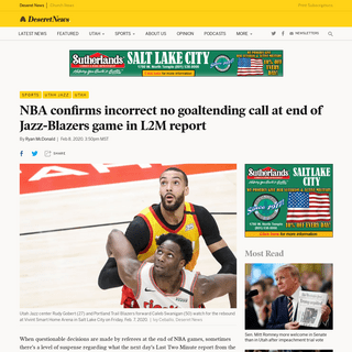 NBA confirms incorrect no goaltending call at end of Jazz-Blazers game - Deseret News