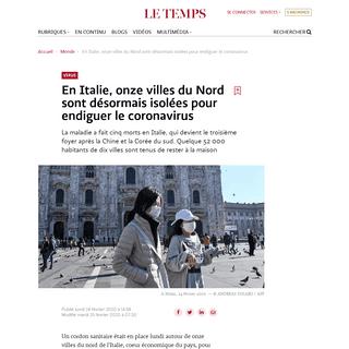 En Italie, onze villes du Nord sont désormais isolées pour endiguer le coronavirus - Le Temps