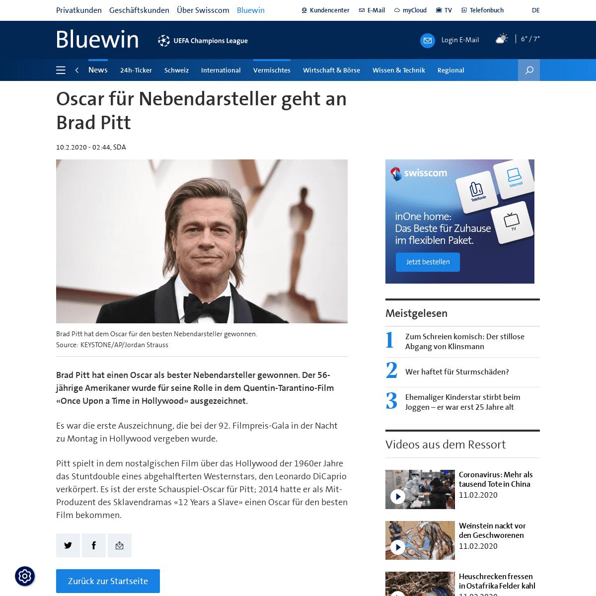 Oscar für Nebendarsteller geht an Brad Pitt