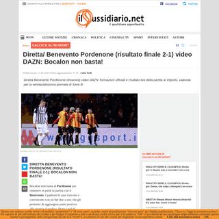 Diretta- Benevento Pordenone (risultato finale 2-1) video DAZN- Bocalon non basta!