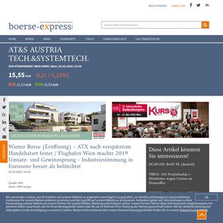 Börse Express - Wiener Börse (Eröffnung) - ATX nach verspätetem Handelsstart fester - Flughafen Wien machte 2019 Umsatz- und