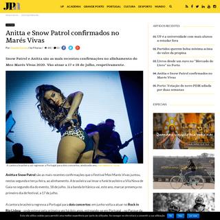 Anitta e Snow Patrol confirmados no Marés Vivas - JPN