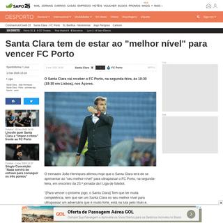 Santa Clara tem de estar ao -melhor nível- para vencer FC Porto - I Liga - SAPO Desporto