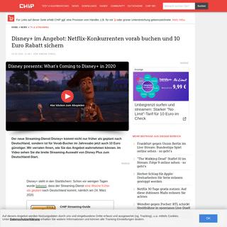 Disney+ im Angebot- Netflix-Konkurrenten vorab buchen und 10 Euro Rabatt sichern - CHIP