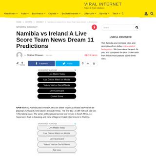 ArchiveBay.com - somaliupdate.com/11420-2/ - Namibia vs Ireland A Live Score Team News Dream 11 Predictions - Viral Internet