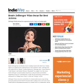 Renee Zellweger Wins Oscar for Best Actress - IndieWire