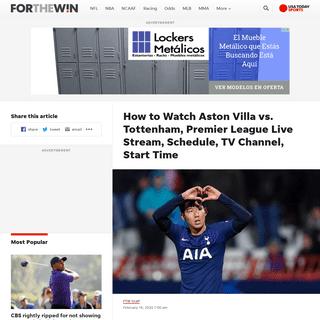 ArchiveBay.com - ftw.usatoday.com/2020/02/how-to-watch-aston-villa-vs-tottenham-premier-league-live-stream-schedule-tv-channel-start-time - Aston Villa vs. Tottenham Live Stream- TV Channel, How to Watch