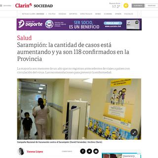 Sarampión- la cantidad de casos está aumentando y ya son 118 confirmados en la Provincia - Clarín
