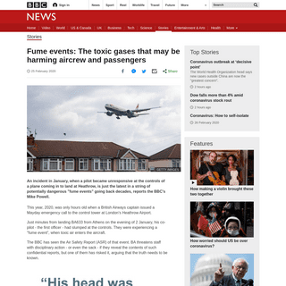 Fume events- The toxic gases that may be harming aircrew and passengers - BBC News