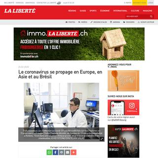 ArchiveBay.com - www.laliberte.ch/news-agence/detail/coronavirus-2e-mort-en-france-dans-la-nuit-de-mardi-a-mercredi/555418 - Le coronavirus se propage en Europe, en Asie et au Brésil - La Liberté