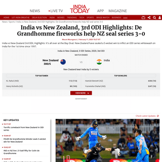 Highlights, India vs New Zealand (IND vs NZ) 3rd ODI- De Grandhomme fireworks help NZ seal series 3-0 - India Today