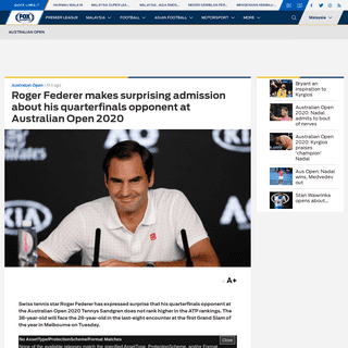 ArchiveBay.com - www.foxsports.com.my/tennis/australian-open/140963/roger-federer-makes-surprising-admission-about-his-quarterfinals-opponent-at-australian-open-2020/ - Roger Federer makes surprising admission about his quarterfinals opponent at Australian Open 2020