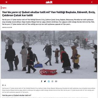 Van'da yarın 17 Şubat okullar tatil mi- Van Valiliği Başkale, Edremit, Erciş, Çaldıran Çatak kar tatili