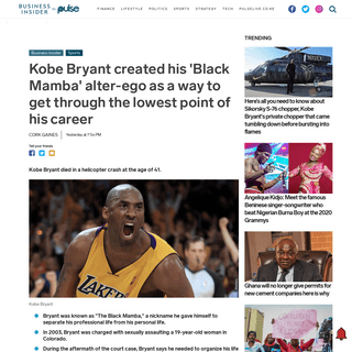 Kobe Bryant created his 'Black Mamba' alter-ego as a way to get through the lowest point of his career - Pulse Live Kenya
