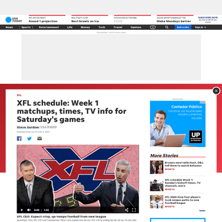 XFL schedule Week 1- Saturday's kickoff times, TV channels, more