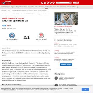 Holstein Kiel gegen FC St. Pauli live- Aktueller Spielstand 2-1 - FOCUS Online