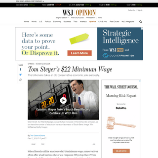 Tom Steyer's $22 Minimum Wage - WSJ