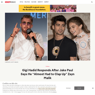 """Gigi Hadid Responds After Jake Paul Says He """"Almost Had to Clap Up"""" Zayn Malik - Teen Vogue"""