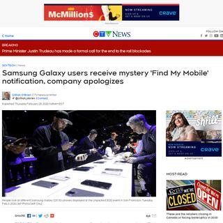 ArchiveBay.com - www.ctvnews.ca/sci-tech/samsung-galaxy-users-receive-mystery-find-my-mobile-notification-company-apologizes-1.4820219 - Samsung Galaxy users receive mystery 'Find My Mobile' notification, company apologizes - CTV News