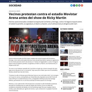 Vecinos protestan contra el estadio Movistar Arena antes del show de Ricky Martin - Télam - Agencia Nacional de Noticias