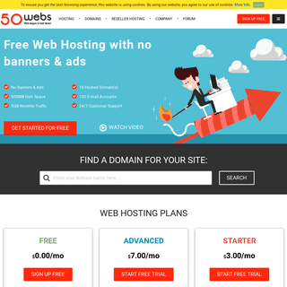 Free Web Hosting with no banners & ads - 50Webs.com