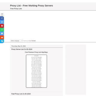 Proxy List - Free Working Proxy Servers