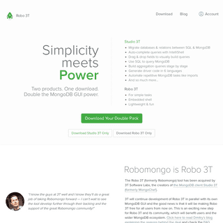 Robo 3T - Free, open-source MongoDB GUI (formerly Robomongo)