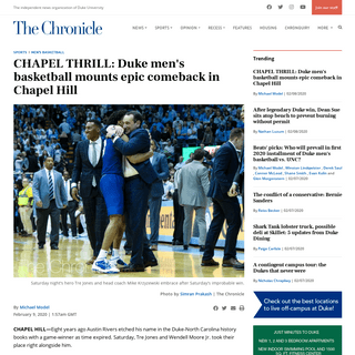 ArchiveBay.com - www.dukechronicle.com/article/2020/02/duke-basketball-north-carolina-cole-anthony-tre-jones-wendell-moore - CHAPEL THRILL- Duke men's basketball mounts epic comeback in Chapel Hill - The Chronicle