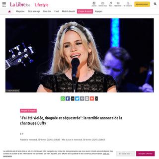 -J'ai été violée, droguée et séquestrée-- la terrible annonce de la chanteuse Duffy - La Libre
