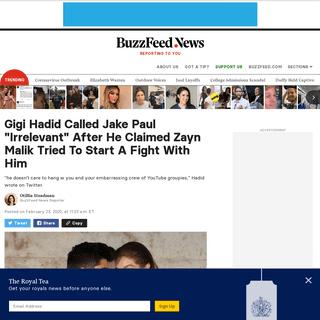 Gigi Hadid Calls Out YouTuber Jake Paul In Defense Of Boyfriend Zayn Malik