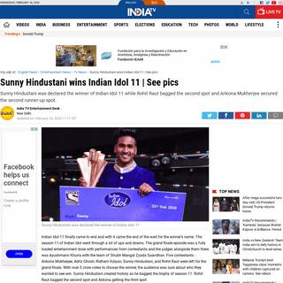 ArchiveBay.com - www.indiatvnews.com/entertainment/tv/indian-idol-11-grand-finale-live-update-streaming-aditya-narayan-neha-kakkar-ayushmann-khurrana-591681 - Indian Idol 11 Grand Finale Highlights- Sunny Hindustani takes the trophy home - Tv News – India TV