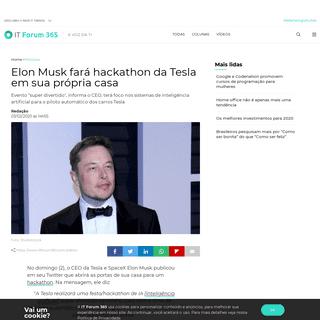 Elon Musk fará hackathon da Tesla em sua própria casa - IT Forum 365