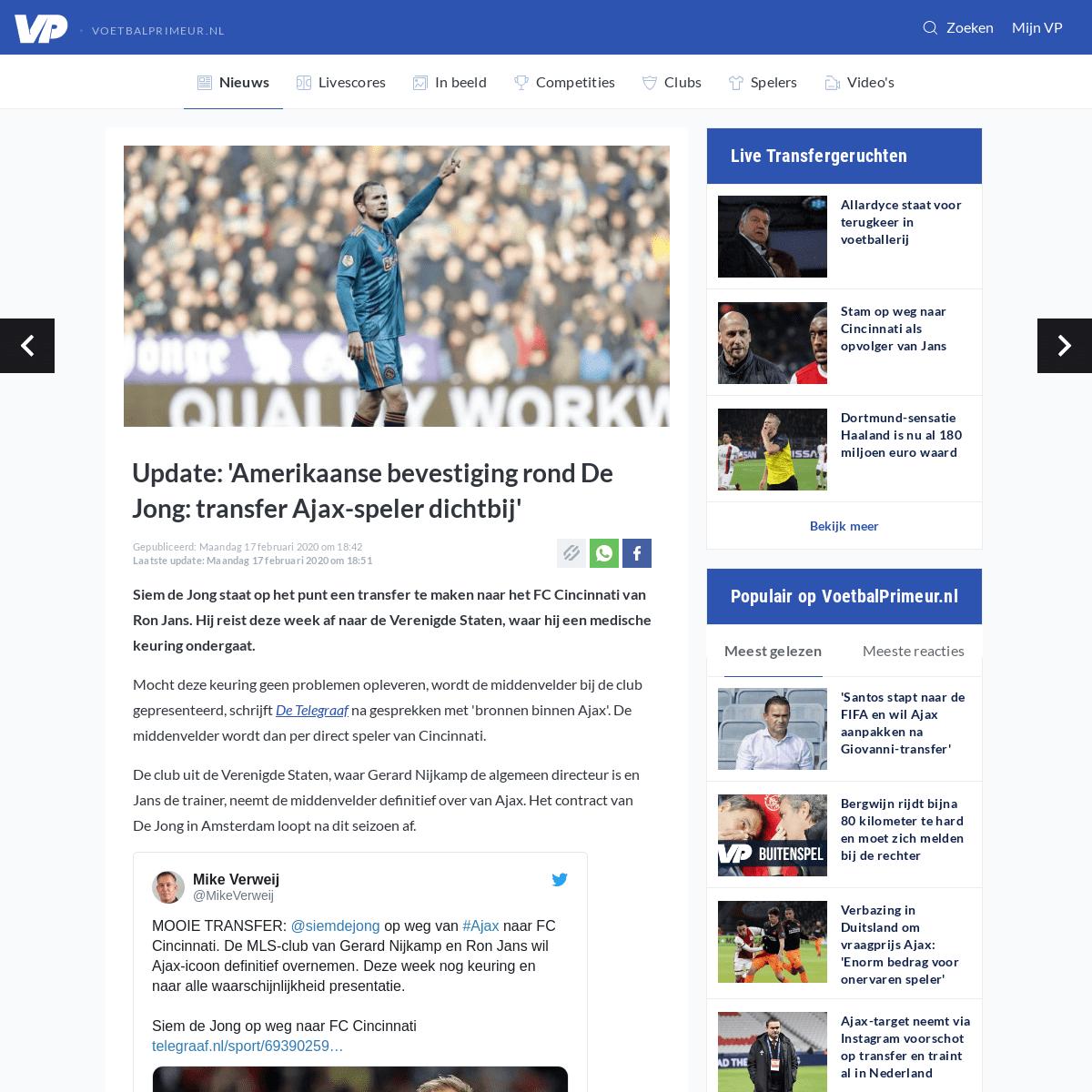 Update- 'Amerikaanse bevestiging rond De Jong- transfer Ajax-speler dichtbij' - Voetbalprimeur