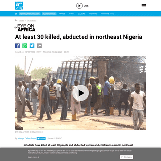 At least 30 killed, abducted in northeast Nigeria - Eye on Africa