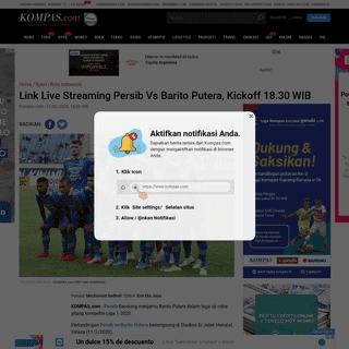 Link Live Streaming Persib Vs Barito Putera, Kickoff 18.30 WIB Halaman all - Kompas.com