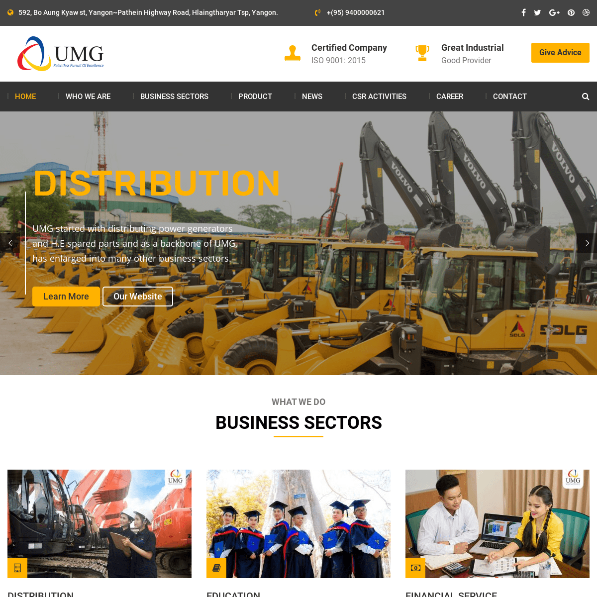 UMG Myanmar – Distribution, maintenance and remanufacturing of heavy machinery and spare parts.