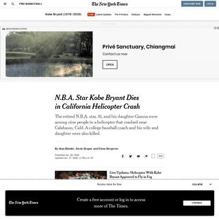 N.B.A. Star Kobe Bryant Dies in California Helicopter Crash - The New York Times