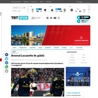 Arsenal Lacazette ile güldü - TRT Spor - Türkiye`nin güncel spor haber kaynağı