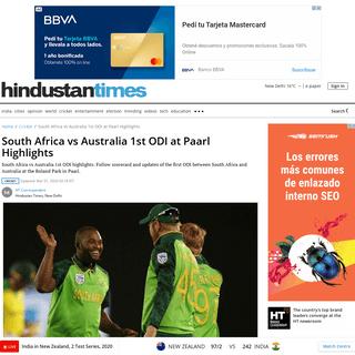 South Africa vs Australia 1st ODI at Paarl Highlights - cricket - Hindustan Times