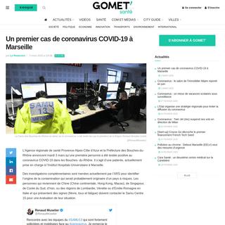 Un premier cas de coronavirus COVID-19 à Marseille - Gomet
