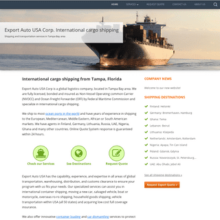 Export Auto USA Corp. International cargo shipping – Shipping and transportation services in Tampa Bay area